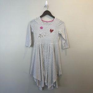 Girls L gray stripe knit Gymboree midi dress V-Day